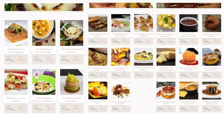 Choix entrées plats desserts